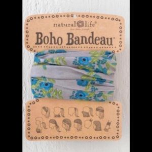 Natural Life Boho Headband Bandeau Blue & Gray